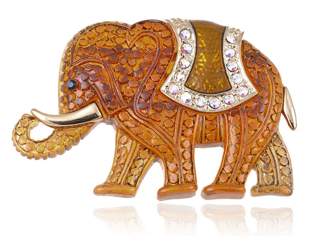 Matte Orange Iridescent African Elephant Brooch Pin