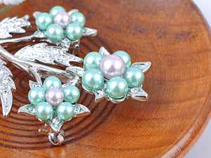 Elements Green Lavender Pearl 3 Stem Flower Pin Brooch