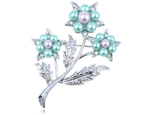 Load image into Gallery viewer, Elements Green Lavender Pearl 3 Stem Flower Pin Brooch