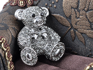 Vintage Valentine Silver Teddy Bear Stuffed Animal Lapel Brooch Pin