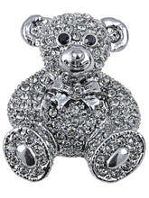 Load image into Gallery viewer, Vintage Valentine Silver Teddy Bear Stuffed Animal Lapel Brooch Pin