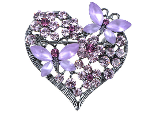Floral Insect Butterfly Love Flower Heart Brooch Pin