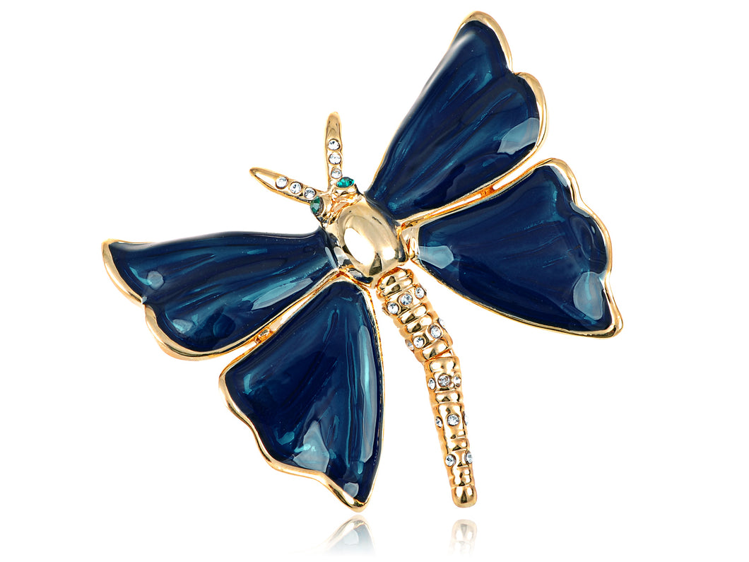 Elements Pearlescent Royal Blue Painted Dragonfly Pin Brooch