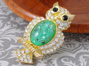 Elements Green Shimmer Owl Bird Pin Brooch