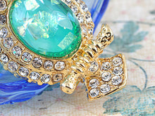 Load image into Gallery viewer, Elements Green Shimmer Owl Bird Pin Brooch