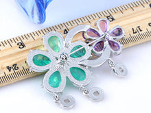 Load image into Gallery viewer, Elements Shimmer Green Lavender Twin Flower Pin Brooch