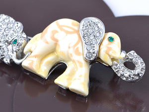 Elements Sapphire Eyed Pearlescent Paint Elephants Pin Brooch