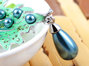 Green Pearl Drop Enamel Leaf Brooch Pin