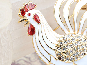 Elements White Enamel Paint Mother Hen Farm Animal Pin Brooch