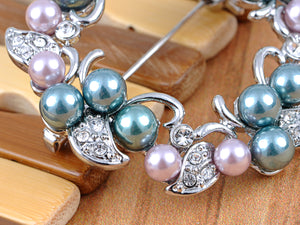 Elements Pearl Flower Holiday Wreath Pin Brooch