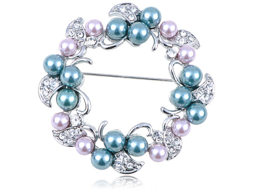 Alilang Swarovski Crystal Elements Faux Pearl Flower Holiday Wreath Fashion Pin Brooch