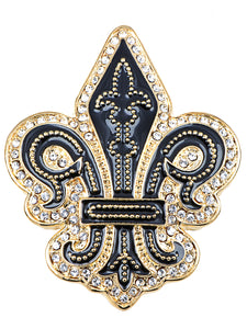 Black Gothic Medieval Royal Fleur De Lis Lily Brooch Pin