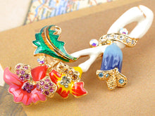 Load image into Gallery viewer, Elements Colorful Intertwining Flower Plant Pin Brooch