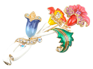 Elements Colorful Intertwining Flower Plant Pin Brooch