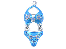 Load image into Gallery viewer, Elements Itsy Bitsy Blue Flower Bikini Summertime Pin Brooch