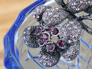 Violet Purple Colored Floral Two Flower Brooch Pin