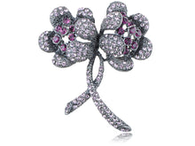Load image into Gallery viewer, Violet Purple Colored Floral Two Flower Brooch Pin