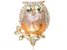 Load image into Gallery viewer, Elements Pearlescent Fat Chubby Grandpa Owl Bird Pin Brooch