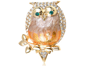 Elements Pearlescent Fat Chubby Grandpa Owl Bird Pin Brooch