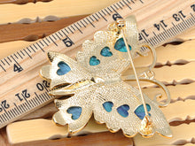 Load image into Gallery viewer, Elements Blue Green Cartoon Carved Wing Butterfly Pin Brooch
