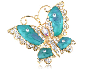 Elements Blue Green Cartoon Carved Wing Butterfly Pin Brooch