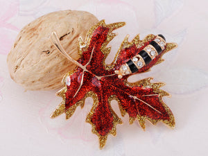 Red Glitter Autumn Maple Leaf Caterpillar Brooch Pin
