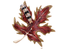 Load image into Gallery viewer, Red Glitter Autumn Maple Leaf Caterpillar Brooch Pin