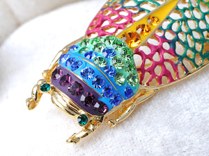 Filigree Insect Beetle Bug Rainbow Pride Convertible To Pendant Brooch Pin