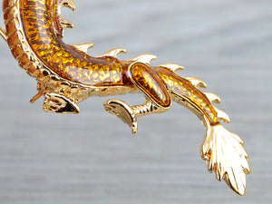Elements Majestic Serpent Dragon Holding Pearl Pin Brooch