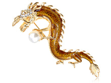 Load image into Gallery viewer, Elements Majestic Serpent Dragon Holding Pearl Pin Brooch