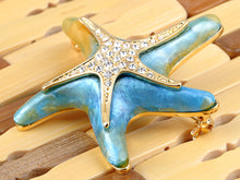 Load image into Gallery viewer, Elements Pearlescent Blue Green Dancin Sea Starfish Pin Brooch