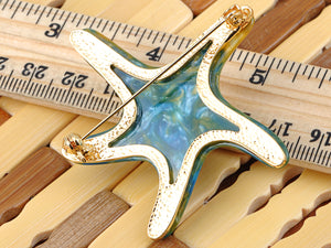 Elements Pearlescent Blue Green Dancin Sea Starfish Pin Brooch