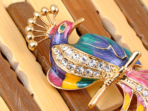Multicolored Pearlescent Colorful Phoenix Bird Brooch Pin