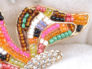 Elements Multi Coloured Beaded Ab Accent Butterfly Pin Brooch