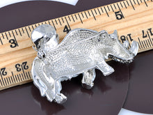 Load image into Gallery viewer, Pearlescent Cream Blue Grey Rhino Horn Saddle Brooch Pin