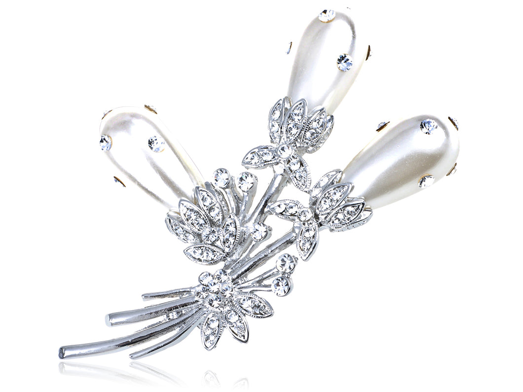 Elements Pearl Bouquet Of Pond Reeds Pin Brooch