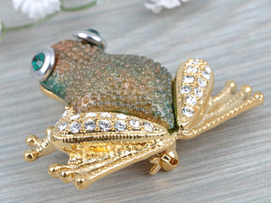 Elements Brown Green Bumpy Skin Waiting Frog Toad Pin Brooch