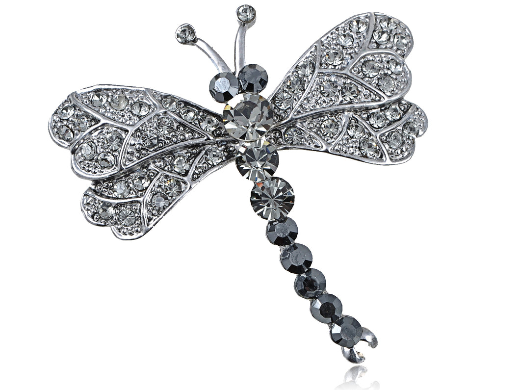 Grey Dragonfly Insect Wings Brooch Pin