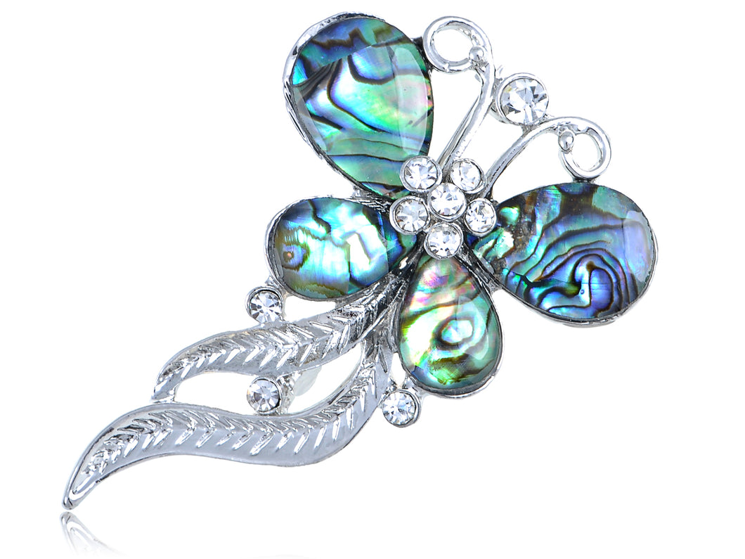 Round Abalone Shell Butterfly Wavy Feather Dangle Tail Pin Brooch