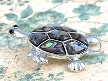 Load image into Gallery viewer, Abalone Shell Hawaiian Swimming Turtle Black Pin Brooch