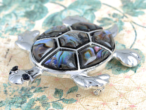 Abalone Shell Hawaiian Swimming Turtle Black Pin Brooch