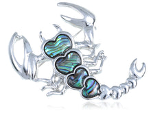 Load image into Gallery viewer, Abalone Colored Heart Scorpio Scorpion Brooch Pin