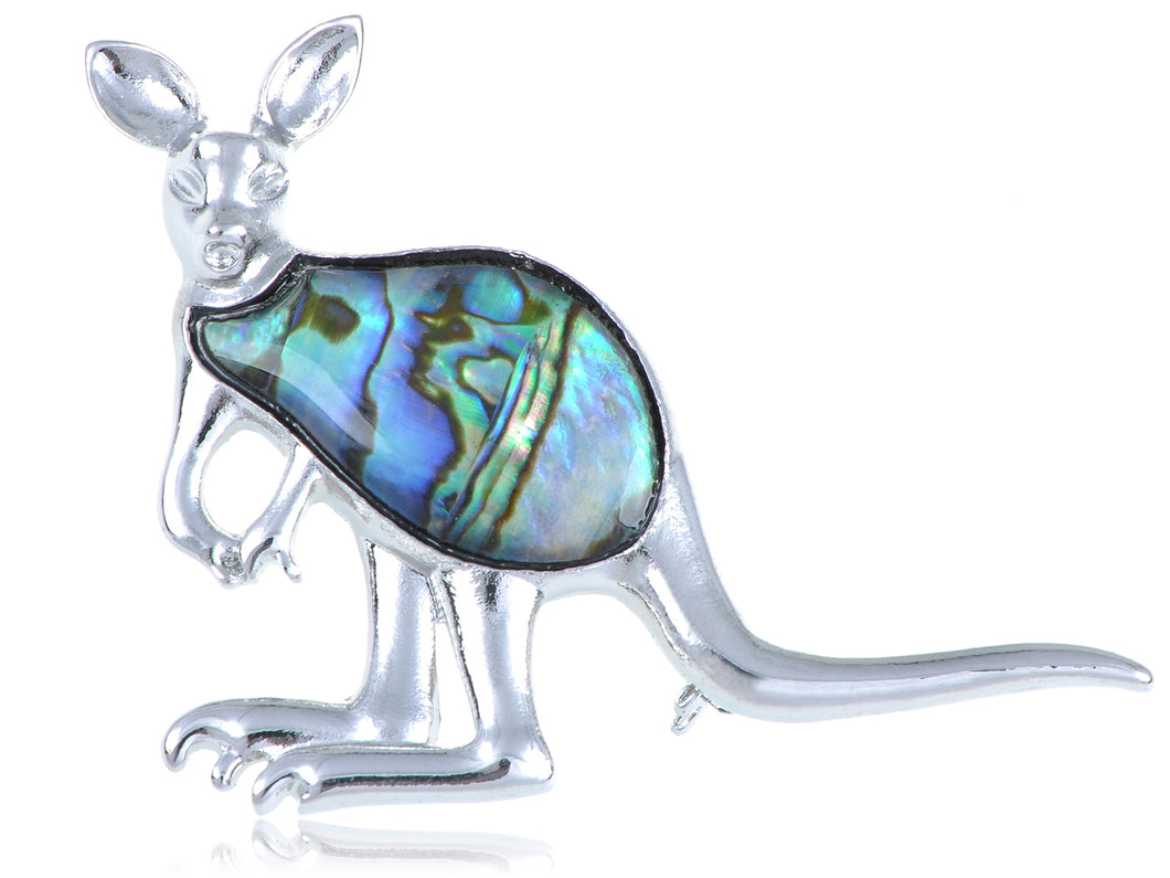 Abalone Colored Kangaroo Joey Brooch Pin