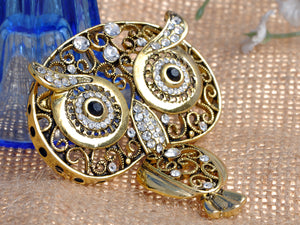 Antique Indian Embellish Owl Bug Eyes Pin Brooch