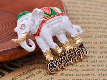 Load image into Gallery viewer, Ivory Colored Feet Sparkling Eyes Gentle Thailand Elephant Brooch