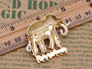 Ivory Colored Feet Sparkling Eyes Gentle Thailand Elephant Brooch