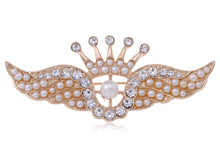 Load image into Gallery viewer, Matte Pearls Crown Angel Wings Brooch Pin