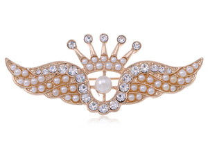 Matte Pearls Crown Angel Wings Brooch Pin