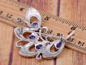 Amethyst Teardrop Cut Abstract Swirl Of Leaves Pin Brooch