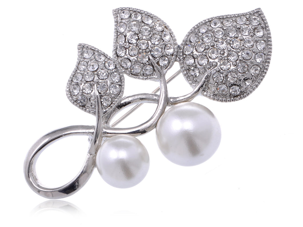 Pearl And Accented Trio Of Leaves Pin Brooch